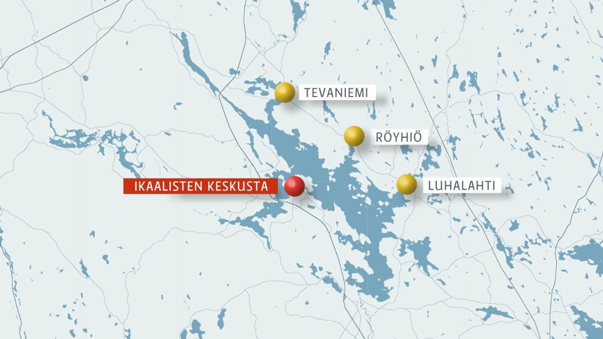 Kartta, jossa on Kyrösjärvi. Sen Länsireunalla on Ikaalisten keskusta ja itäpuolella Tevaniemi, Röyhiö ja Luhalahti.