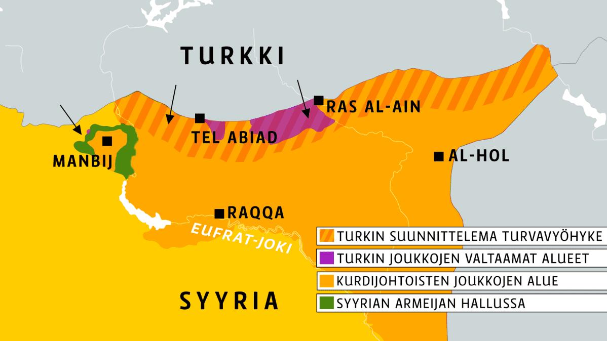 Kartta Syyrian ja Turkin rajalta