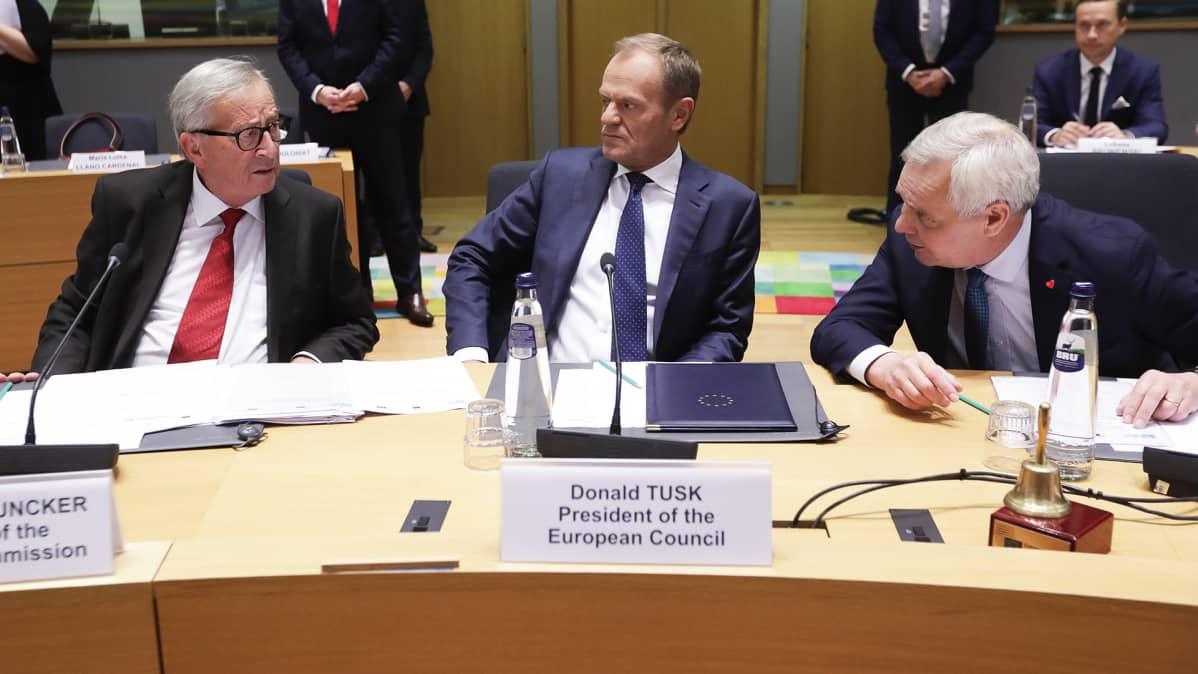 Jean-Claude Juncker, Donald Tusk ja Antti Rinne