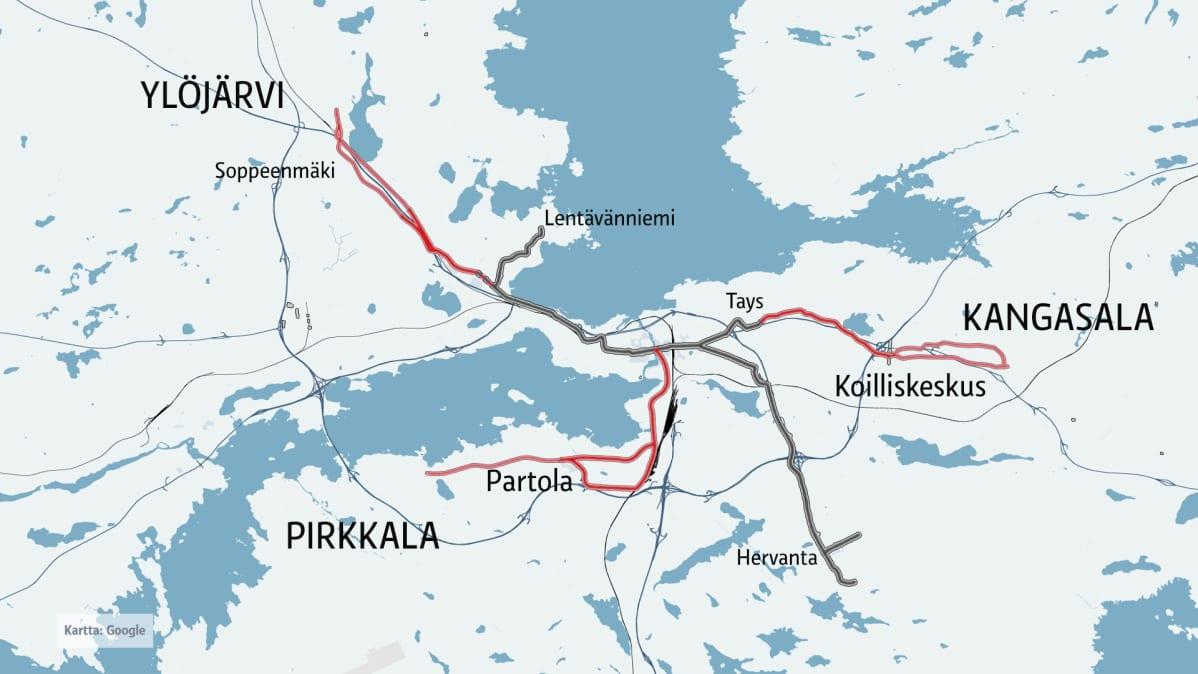 Suosituimmat Ratikan Jatkoreitit Ovat Pirkkala Ja Tampereen