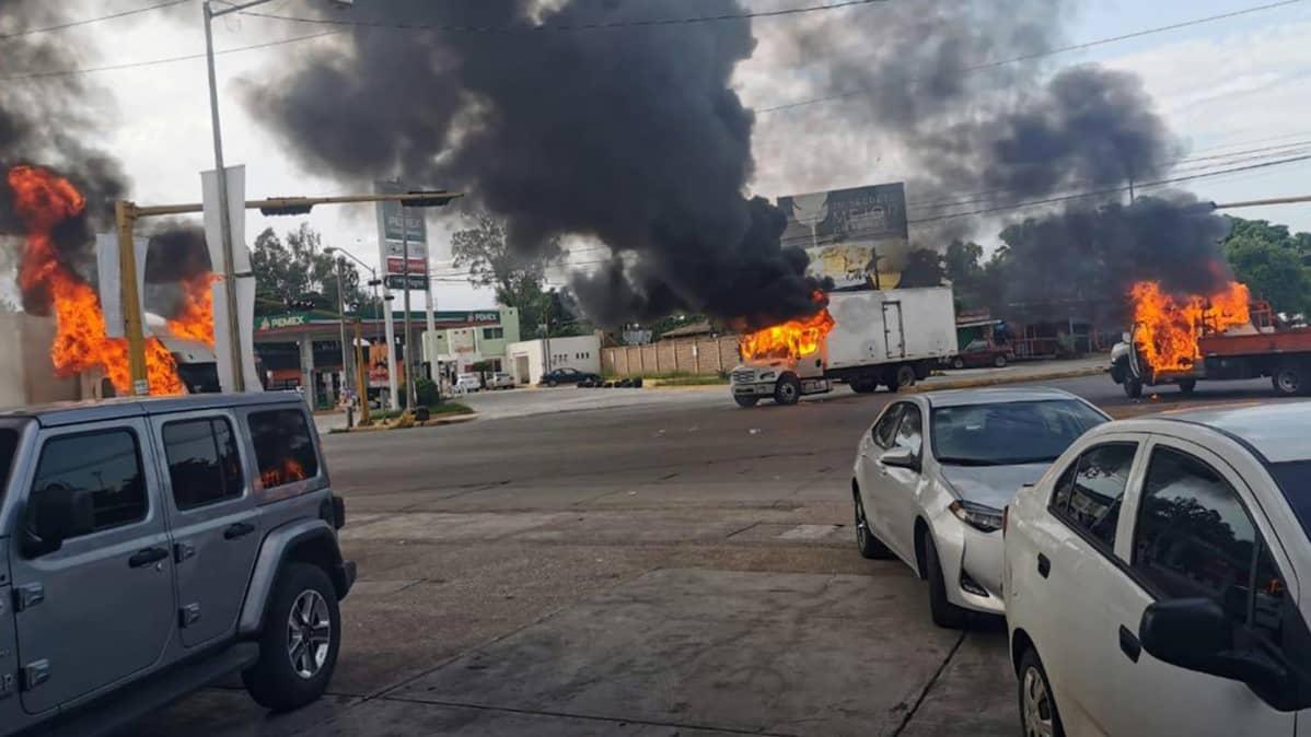 Useista palavista autoista nousee mustaa savua.