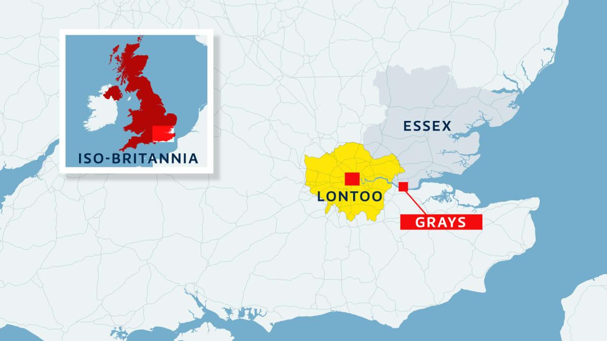 Kartta, jossa Essex, Suur-Lontoo ja Grays