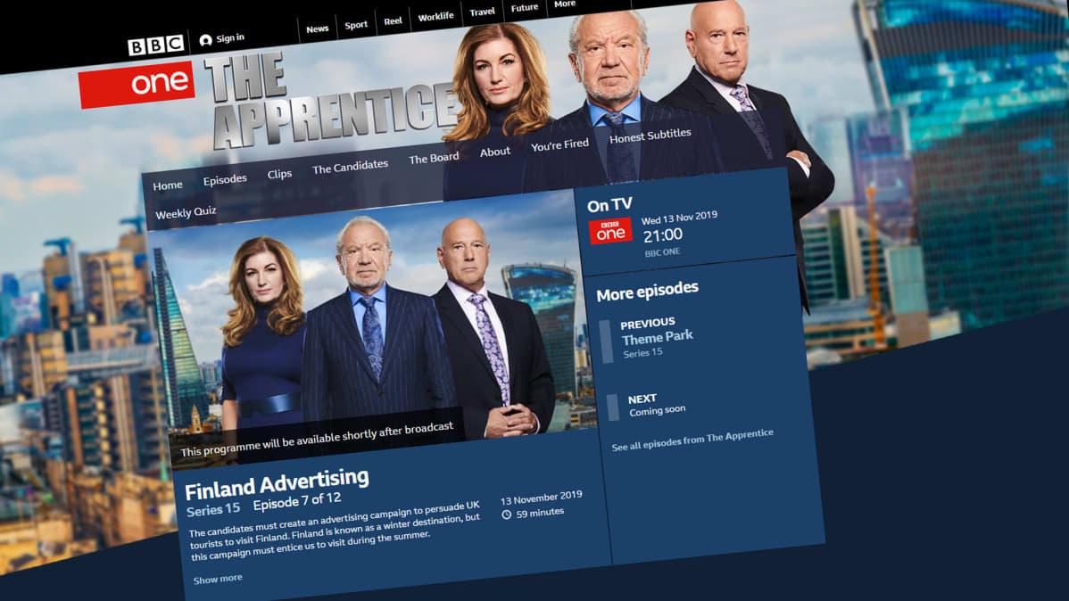 Kuvakaappaus BBC:n internet-sivuilta.