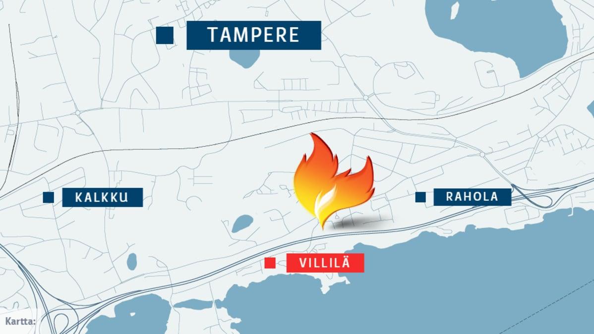Lähes avaamisvalmis autopesula paloi pahasti Tampereen länsiosissa Villilässä.