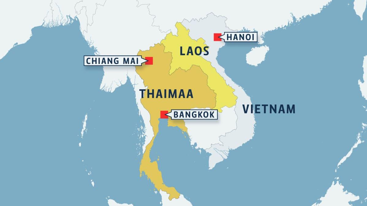 Maanjaristys Thaimaan Ja Laosin Rajalla Pilvenpiirtajat