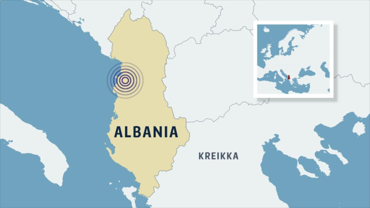 Albania maanjäristys, karttakuva