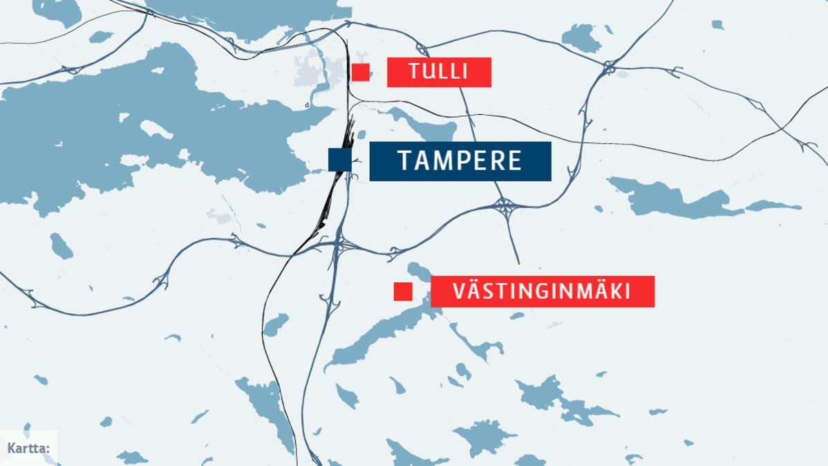 Tulli ja Västinginmäki Tampereen kartalla. Tulli on juna-aseman lähellä, Västinginmäki tulee kaupungin eteläosiin .