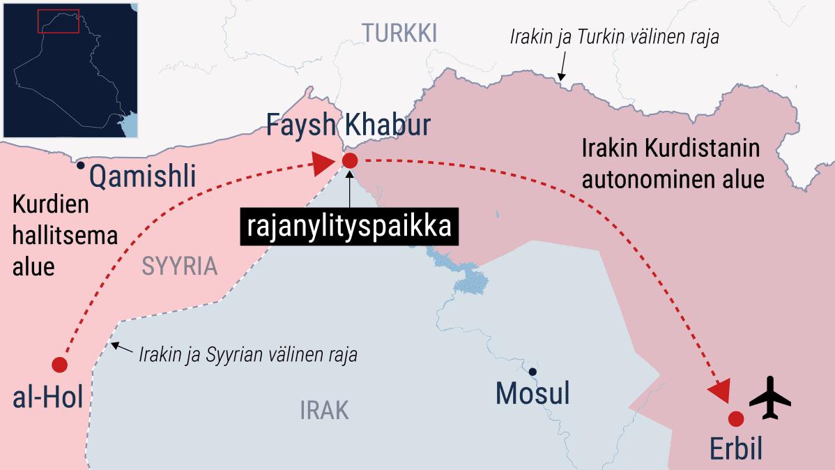 Kartta al-Holin leirin sijainnista.