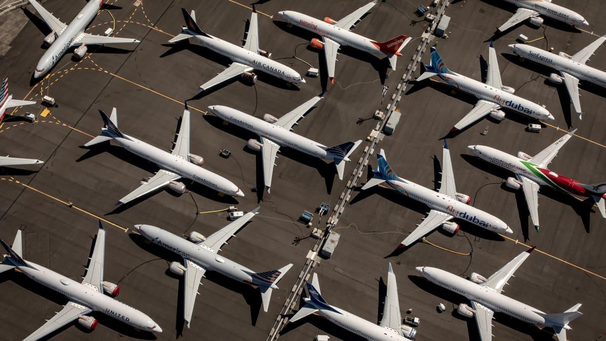 Boeing 737 Max -koneita kuvattuna parkissa Seattlessa Yhdysvalloissa heinäkuussa 2019.