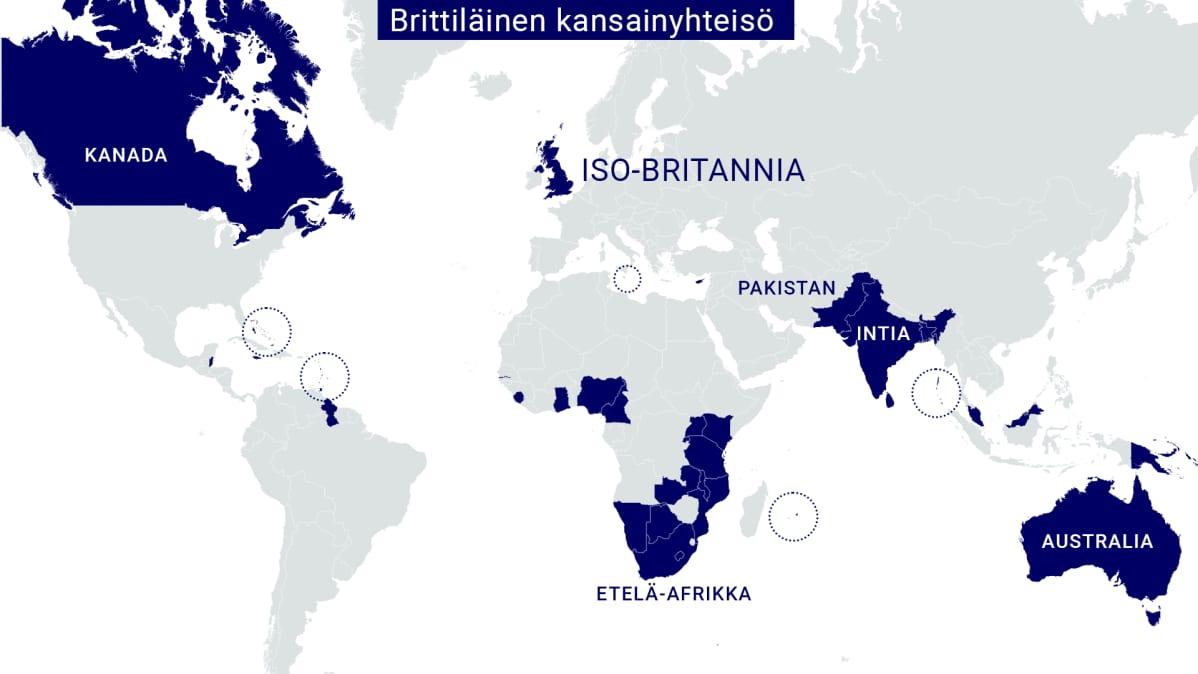 Brittiläiseen kansainyhteisöön kuuluvat maat kartalla