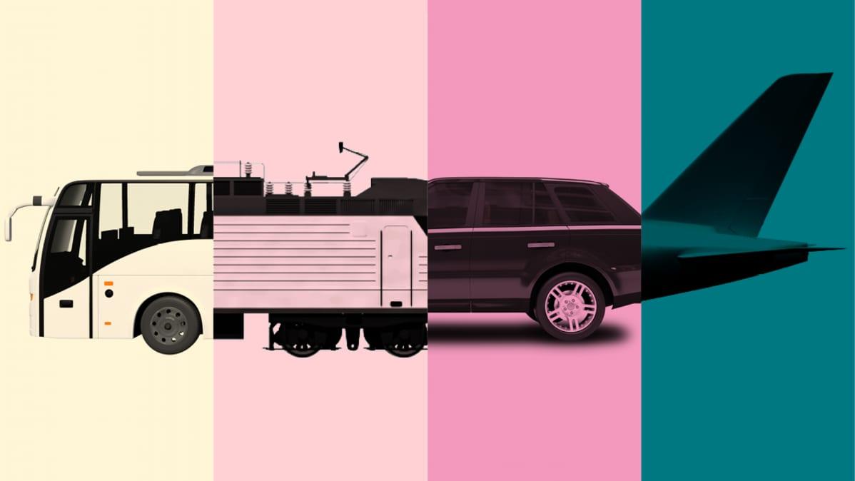 Bussi, juna, henkilöauto ja lentokone