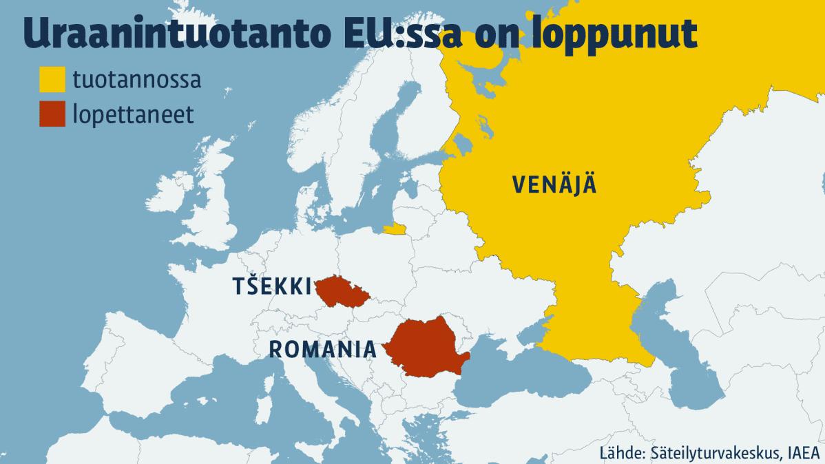 Kartta Euroopan maista, joissa on ollut tai on uraanituotantoa.