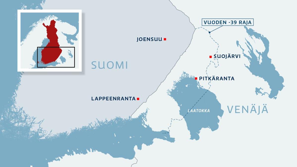 Kartassa osa Suomea ja Venäjää, Suojärvi ja Pitkäranta sekä vuoden 1939 raja.