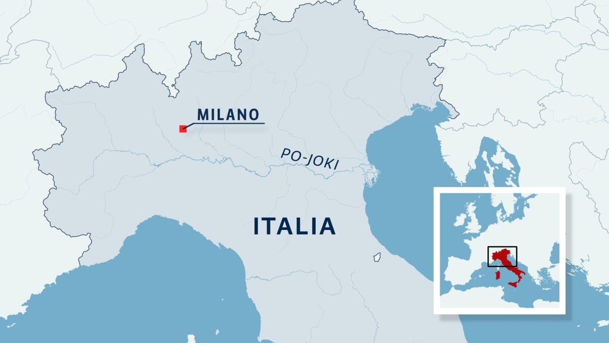 Iltalian pohjoisosan kartta, Po-joki ja Milanon kaupunki
