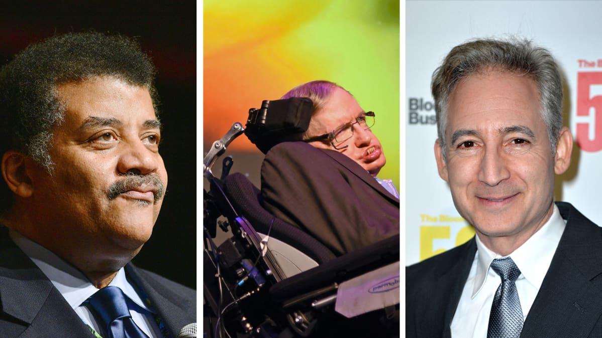 Neil deGrasse Tyson, Stephen Hawking ja Brian Greene.