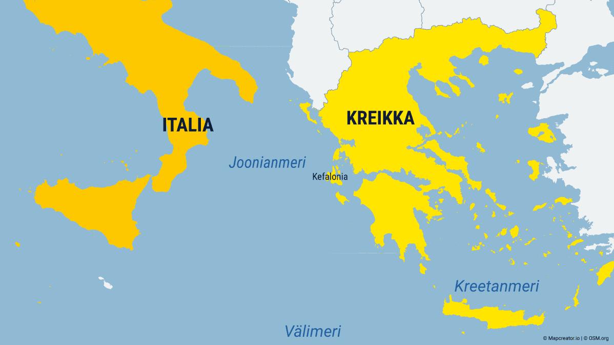 Kuvassa on kartta, jossa näkyy muun muassa Italiaa ja Kreikka.
