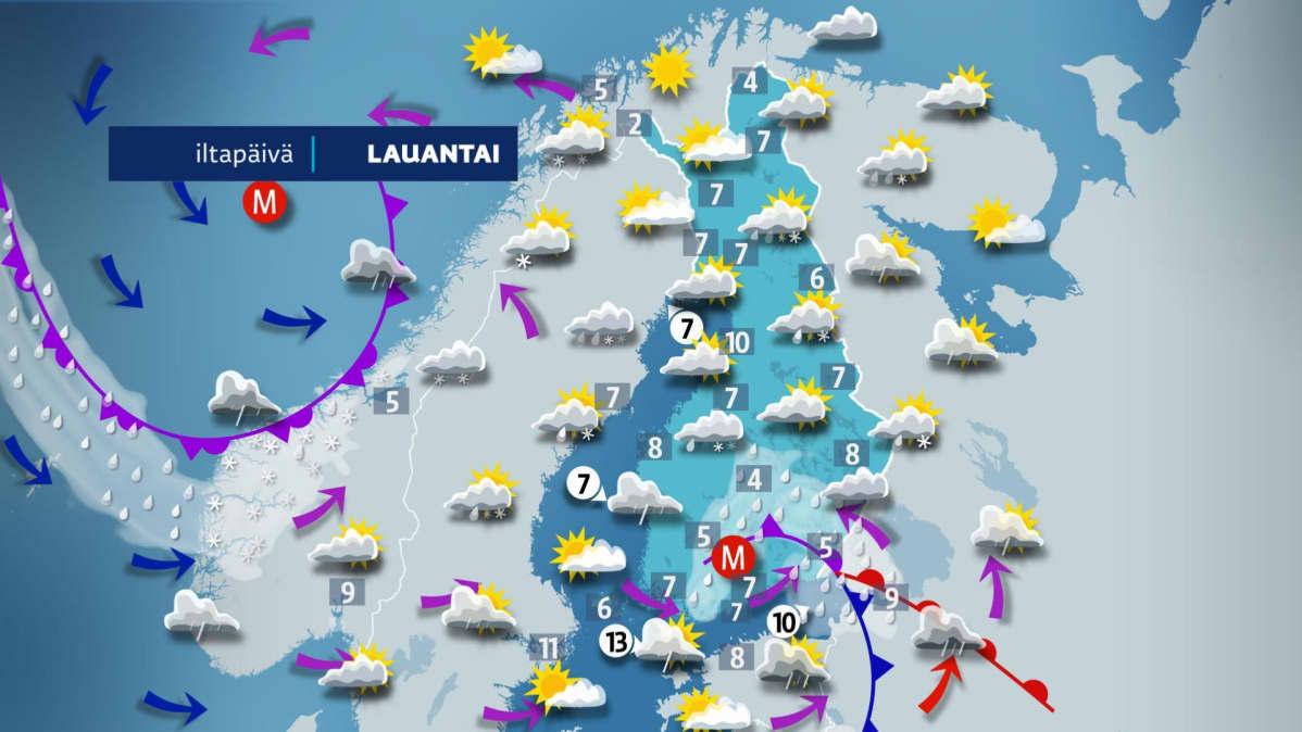 Lauantai-iltapäivän sää