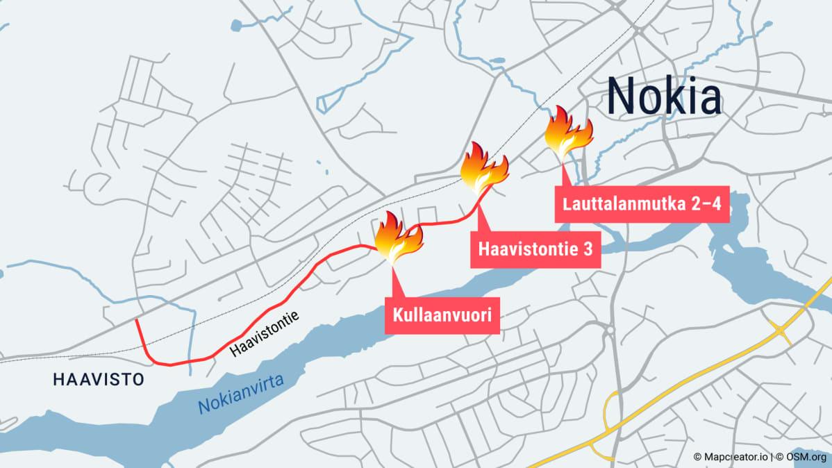 Kartta Nokian tulipaloista.