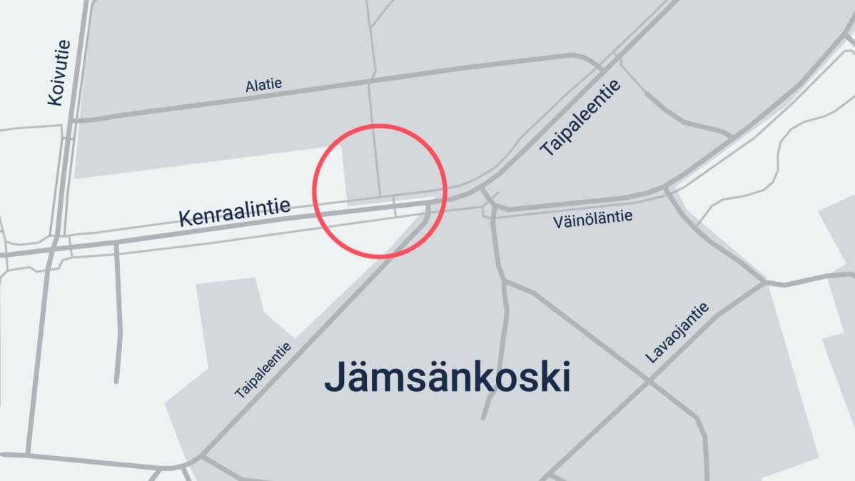 Jämsänkoskella tapahtuneen Pekka Katajan murhan yrityksen tapahtumapaikka.