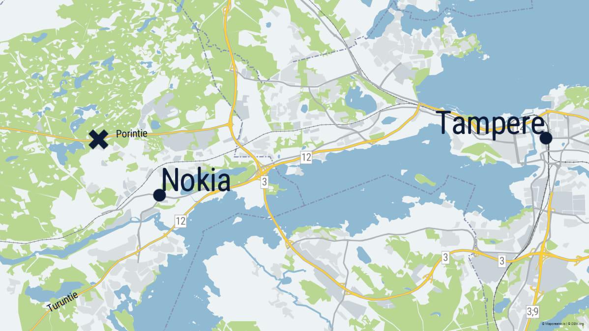 Kartta jossa ruksilla ulosajon paikka