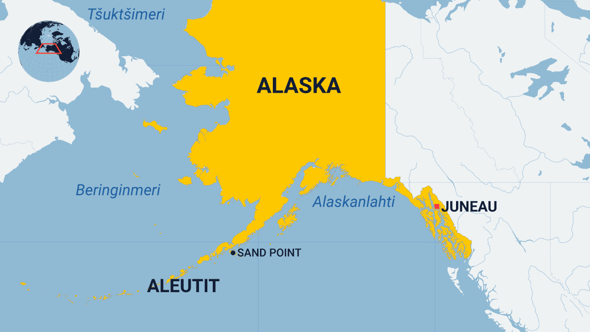 Kartassa näkyy on Aleutit-saaristo Alaskassa.