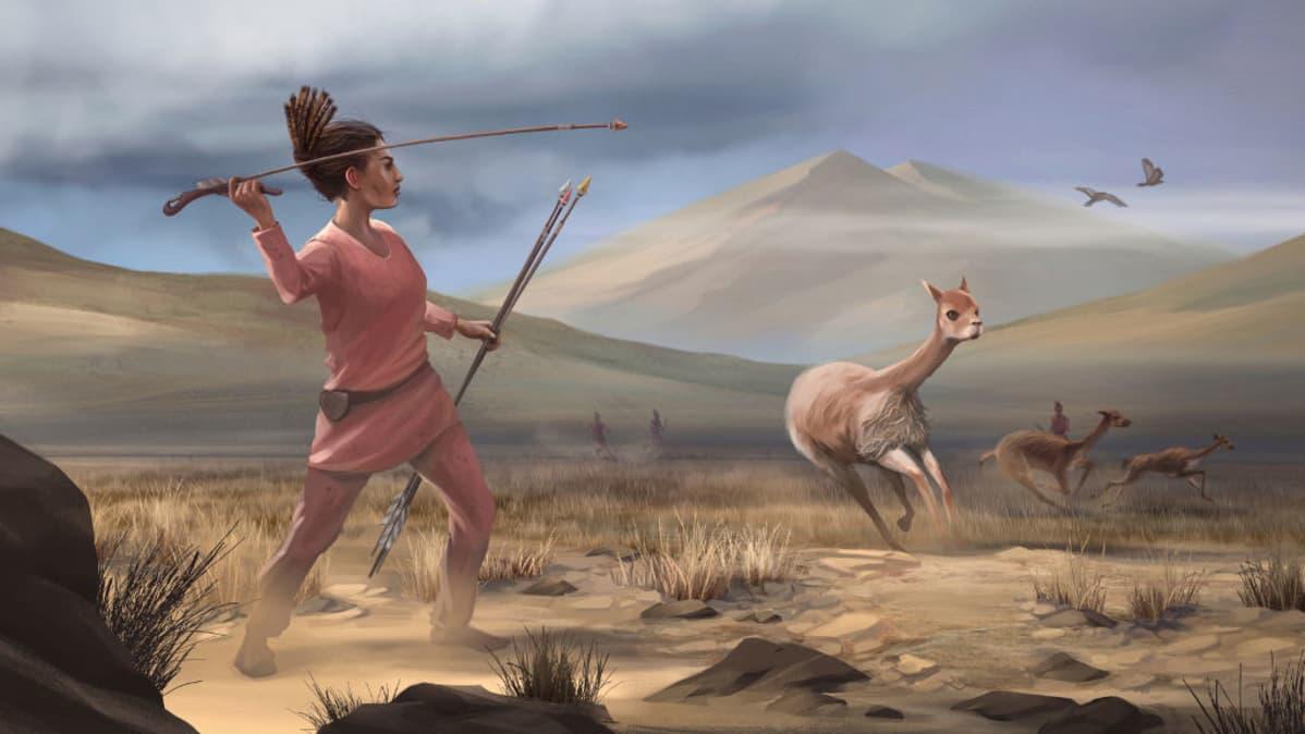 Piirros heittokeihäillä varustautuneesta naisesta, joka on juuri saalistanassa kauriin tapaista eläintä. Kaksi muuta juokseen karkuun, ja taivaalla on kaksi lintua.