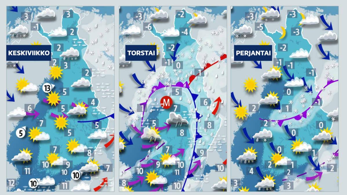Sääkartat keskiviikko 18.11.2020 - perjantai 20.11.2020