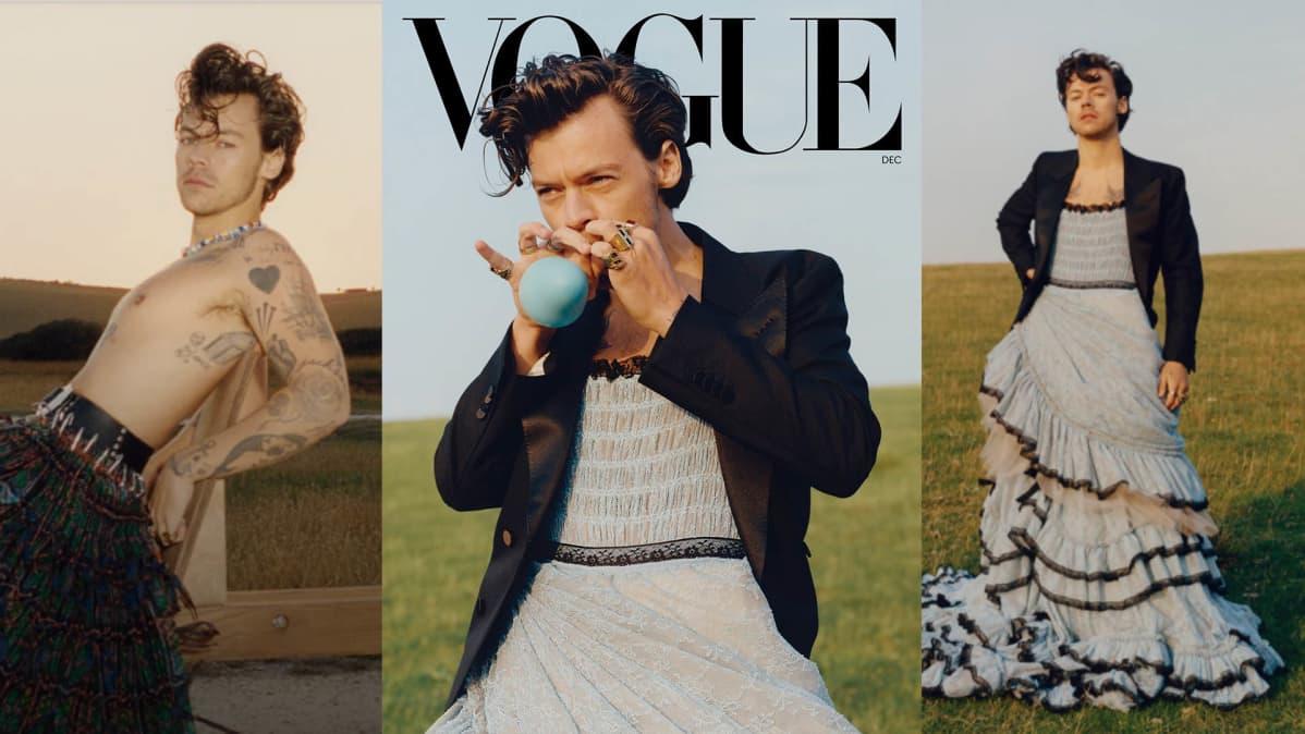 Harry Styles mekossa Voguen kannessa.