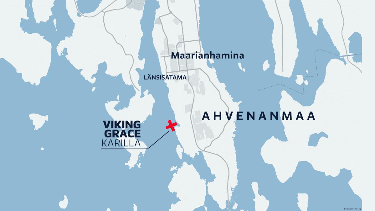Grafiikka: Ahvenanmaan kartta, jossa näkyy muun muassa Maarianhamina.