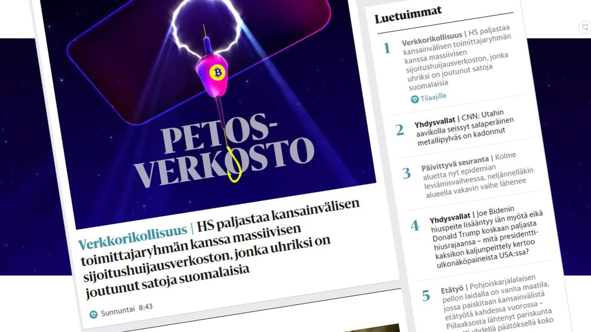 Kuvakaappaus Helsingin Sanomista