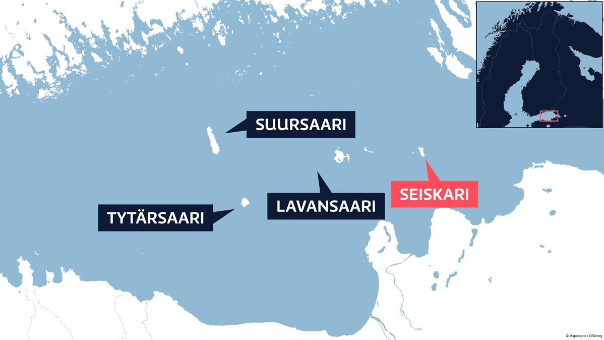 Kartta, johon on merkitty Suomenlahdella sijaitseva Seiskarin saari ja sen viereiset saaret