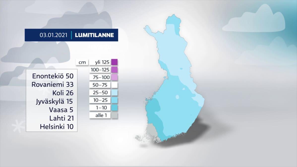 Suomen lumitilanne.