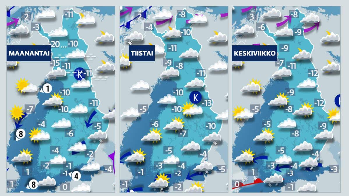 Kolmen vuorokauden sääkartat.