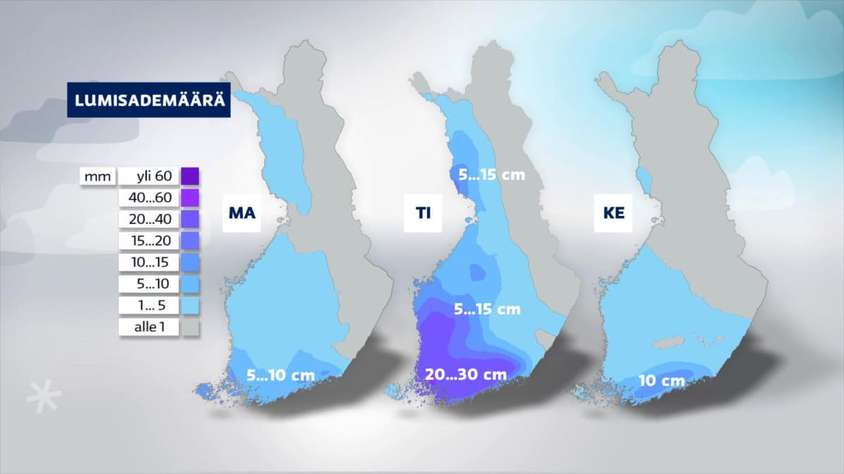 Sääkartat ennustetuista maanantain, tiistain ja keskiviikon lumisademääristä.