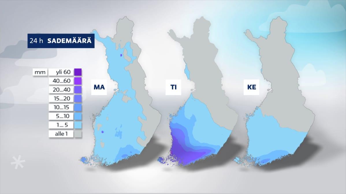 Grafiikka kolmen päivän lumisademääristä.