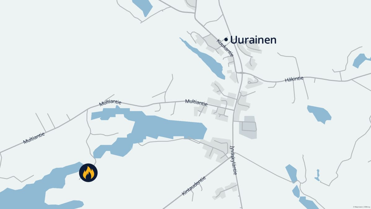 Kartta Uuraisten tulipaljon sijainnista.