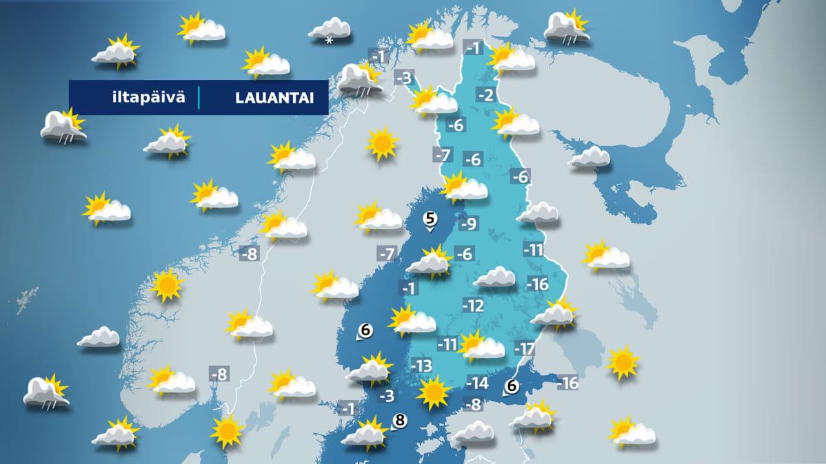Lauantain sääkartta