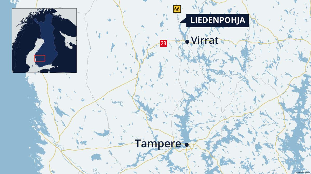 Kartta, josta näkyy Virtain ja Liedenpohjan sijainnit.