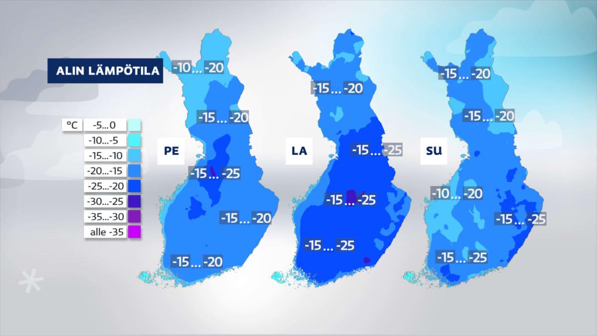 Loppuviikon kylmimmät lämpötilat Suomen kartalla.