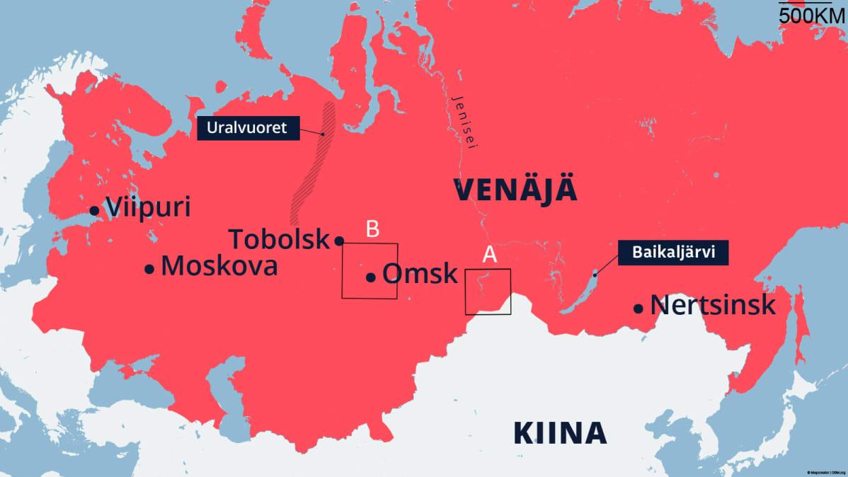 Venäjän maa-alueet n. 1866.
