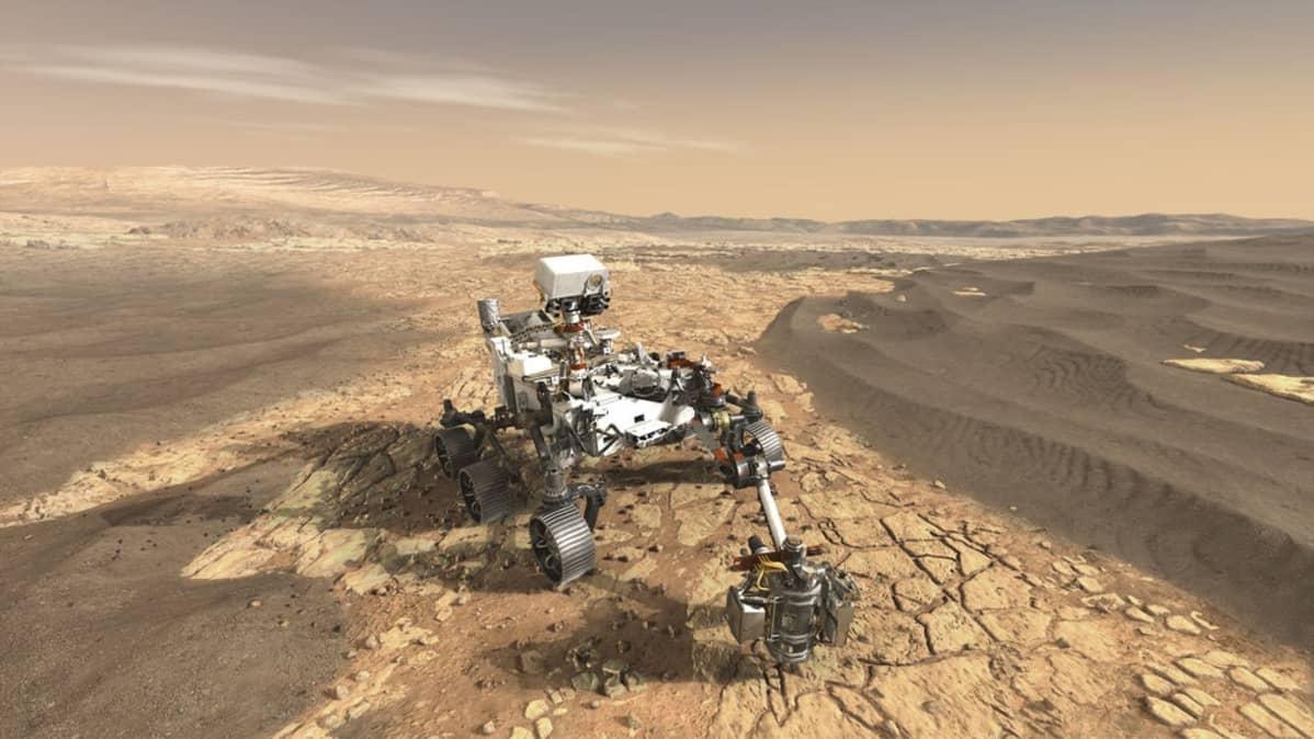 Kuudella pyörällä rullaava pienen auton kokoinen tutkimuslaboratorio Marsin punaisella, halkeilleella pinnalla.