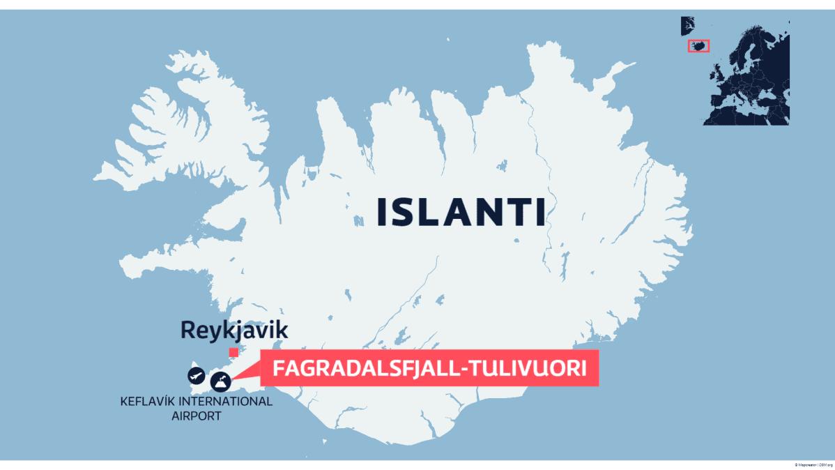 Kartta Islannista Fagradalsfjällin tulivuorenpurkauksesta.