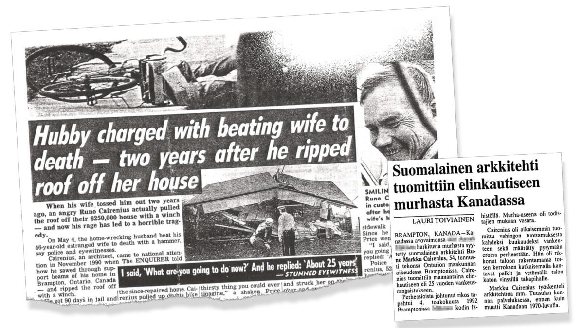Kaksi lehtileikettä murhatapauksesta.