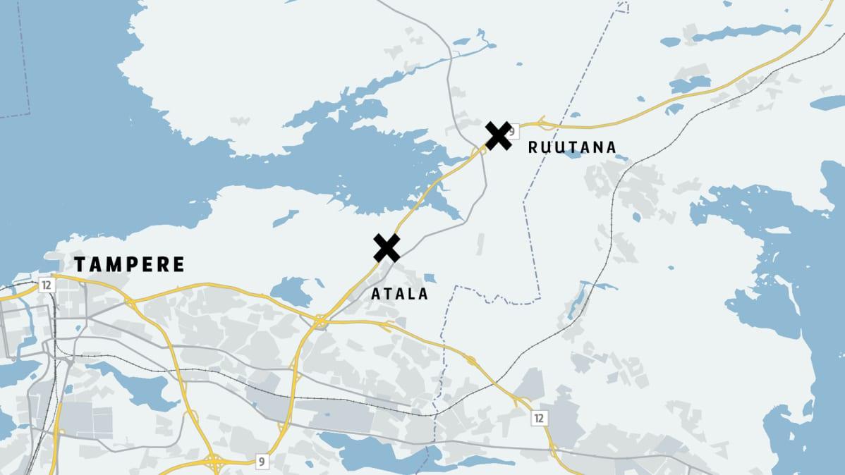 Onnettomuuspaikat sijaitsevat noin kolmen kilometrin päässä toisistaan valtatiellä 9. Kartta