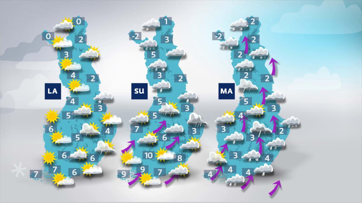 Sääkartta: Lauantai on lähipäivistä poutaisin ja aurinkoisin. Sunnuntain ja etenkin maanantaina tulee sateita.