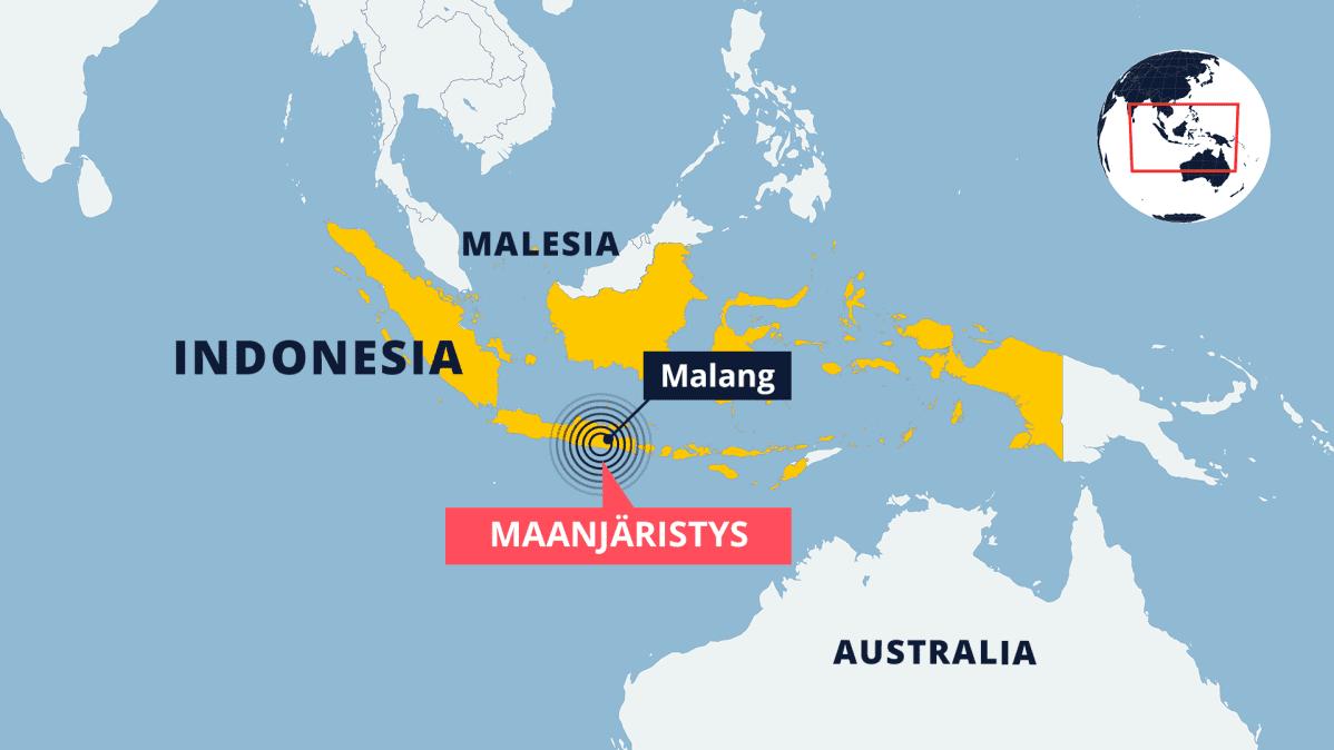Kartta Indonesian alueesta.