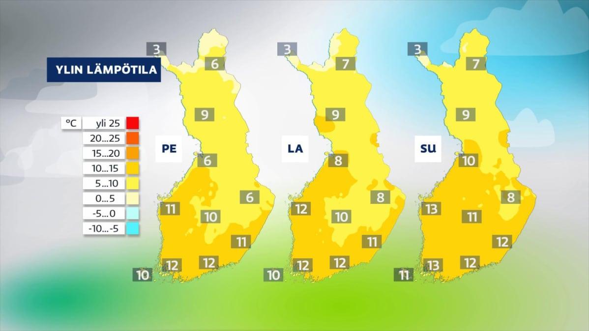 Perjantain, lauantain ja sunnuntain lämpötilat sääkartoilla.