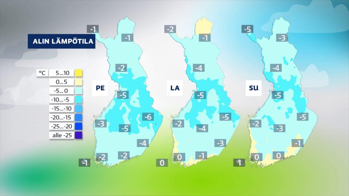 Sääkuva: Loppuviikon yölämpötilat 16.4. – 18.4.2021, lämpötila käy pakkasella koko maassa
