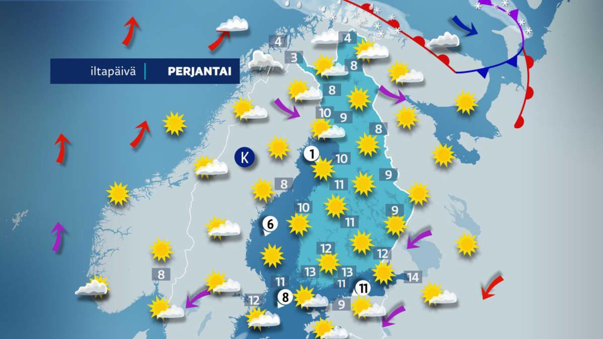 Perjantain sääkartta.