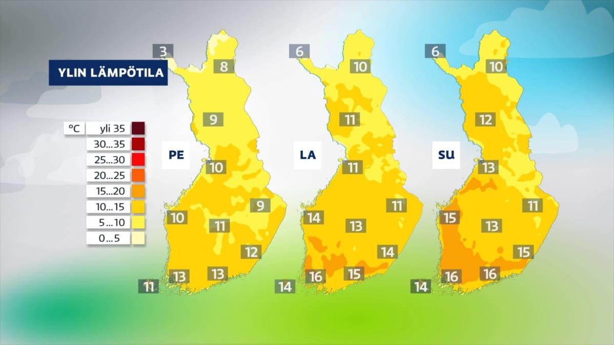 Viikonloppu on aurinkoinen ja lämmin koko maassa.